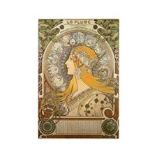 Mucha La Plume Art Nouveau Rectangle Magnet