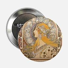 """Mucha La Plume Art Nouveau 2.25"""" Button"""