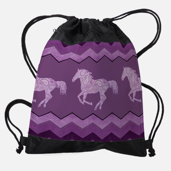 Purple Paisley Horse Drawstring Bag