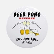 Beer Pong Referee Ornament (Round)