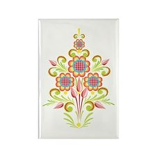 Formal Tole Flowers Rectangle Magnet
