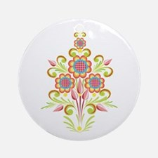 Formal Tole Flowers Ornament (Round)