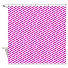 Hot pink angled lines Shower Curtain