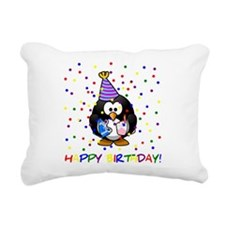 Birthday Penguin Rectangular Canvas Pillow