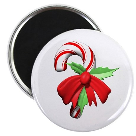 "3D Candy Cane and Bow 2.25"" Magnet (10 pack)"