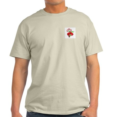 3D Candy Cane and Bow Ash Grey T-Shirt