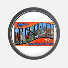 Charlotte North Carolina Greetings Wall Clock