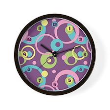 Funky Purple Circles Wall Clock