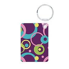 Funky Purple Circles Keychains