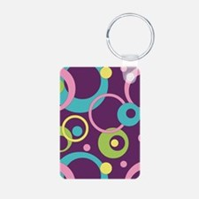 Funky Purple Circles Keychains