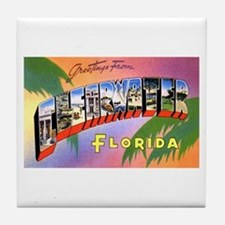 Clearwater Florida Greetings Tile Coaster