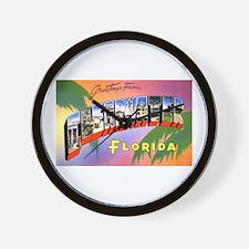 Clearwater Florida Greetings Wall Clock