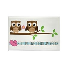Owl 34th Anniversary Rectangle Magnet