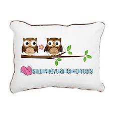 Owl 40th Anniversary Rectangular Canvas Pillow