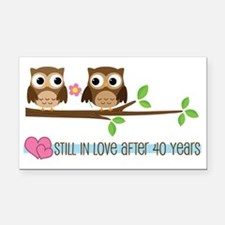 Owl 40th Anniversary Rectangle Car Magnet