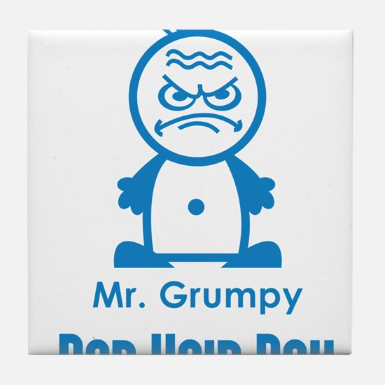MR GRUMPY moody angry face bad hair day funny Tile