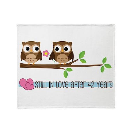 Owl 42nd Anniversary Throw Blanket