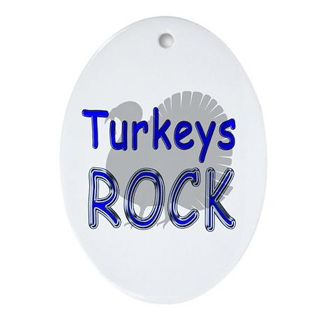 Turkeys Rock Oval Ornament