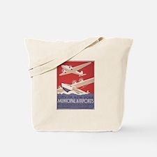 Retro Airplanes New York Tote Bag