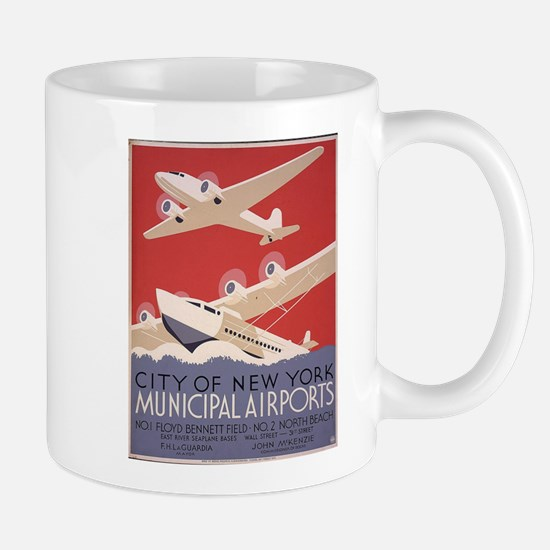 Retro Airplanes New York Mug
