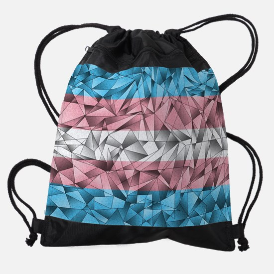 Abstract Transgender Flag Drawstring Bag