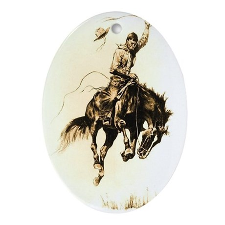 Rodeo Rider Bucking Bronco Ornament (Oval)