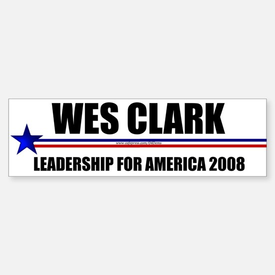 """Wes Clark 2008"" Bumper Car Car Sticker"