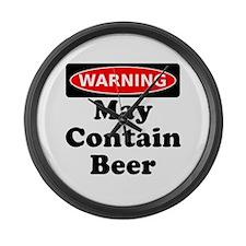 Warning May Contain Beer Large Wall Clock