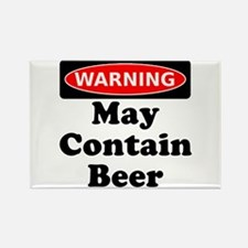 Warning May Contain Beer Rectangle Magnet