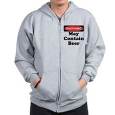 Warning May Contain Beer Zip Hoodie