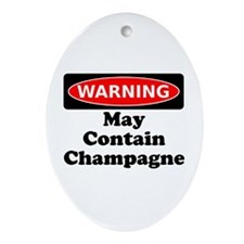 Warning May Contain Champagne Ornament (Oval)
