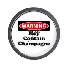 Warning May Contain Champagne Wall Clock