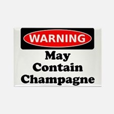 Warning May Contain Champagne Rectangle Magnet