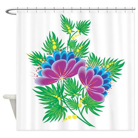 purple fantasy flowers shower curtain by girlytees