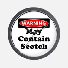 Warning May Contain Scotch Wall Clock