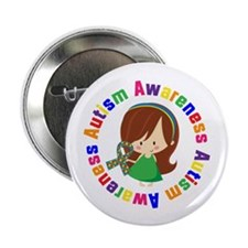 "Autism Awareness Girl 2.25"" Button (10 pack)"