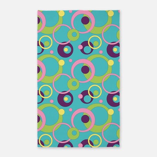 Funky Blue Circles 3'x5' Area Rug