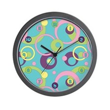 Funky Blue Circles Wall Clock