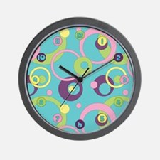 Funky Blue Circles Wall Clock