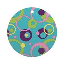 Funky Blue Circles Ornament (Round)