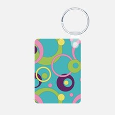 Funky Blue Circles Keychains