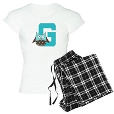 Letter G Monogram Initial Owl Pajamas