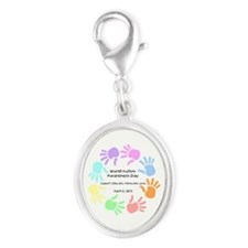 World Autism Day 2013 Silver Oval Charm