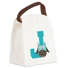 Letter J Monogram Initial Owl Canvas Lunch Bag