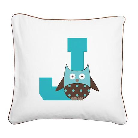 Letter J Monogram Initial Owl Square Canvas Pillow