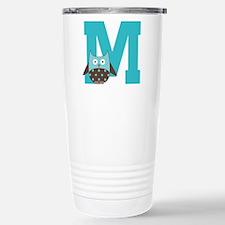 Letter M Monogram Initial Owl Travel Mug
