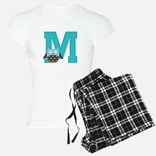 Letter M Monogram Initial Owl Pajamas