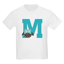 Letter M Monogram Initial Owl T-Shirt