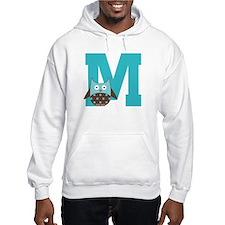 Letter M Monogram Initial Owl Hoodie