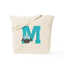 Letter M Monogram Initial Owl Tote Bag